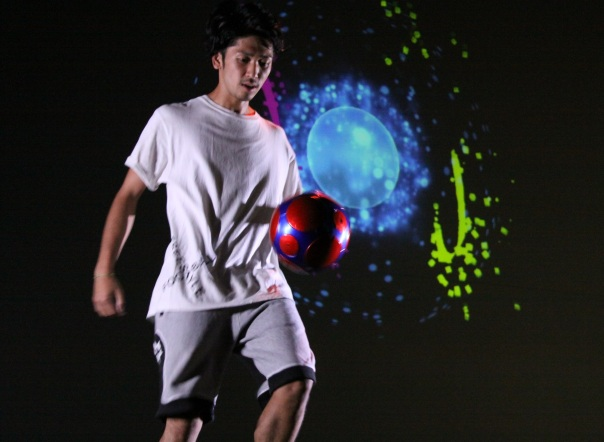 Free style football player Hiroki Matsuda plays the M-digital Ball
